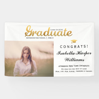 Chic Gold Trendy Graduation Party Class of 2016 Banner