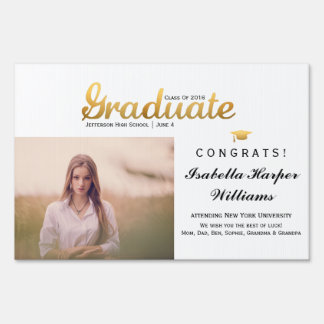 Chic Gold Trendy Graduation Party Class of 2016 Sign