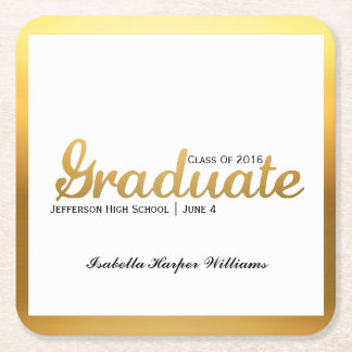 Chic Gold Trendy Graduation Party Class of 2016 Square Paper Coaster