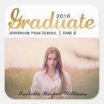 Chic Gold Trendy Graduation Photo Class of 2016 Square Sticker