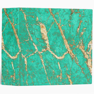 Chic Gold Turquoise Marble Pattern 3 Ring Binder