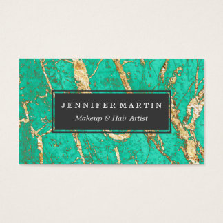 Chic Gold Turquoise Marble Pattern Business Card