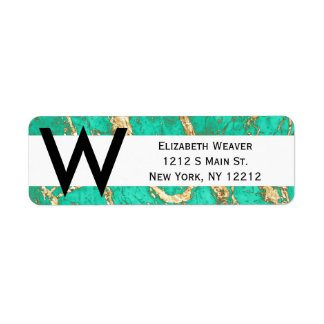 Chic Gold Turquoise Marble Pattern Label
