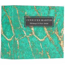 Chic Gold Turquoise Marble Pattern Monogram 3 Ring Binder