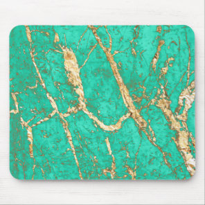 Chic Gold Turquoise Marble Pattern Mouse Pad