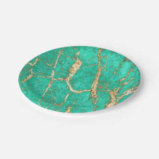 Chic Gold Turquoise Marble Pattern Paper Plate
