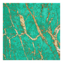 Chic Gold Turquoise Marble Pattern Poster