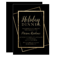 Chic gold typography elegant holiday dinner invitation