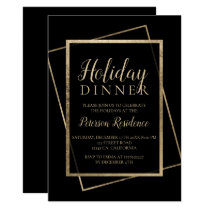 Chic gold typography elegant holiday dinner invitation