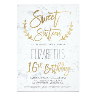 Chic gold typography feathers marble Sweet SIxteen Card