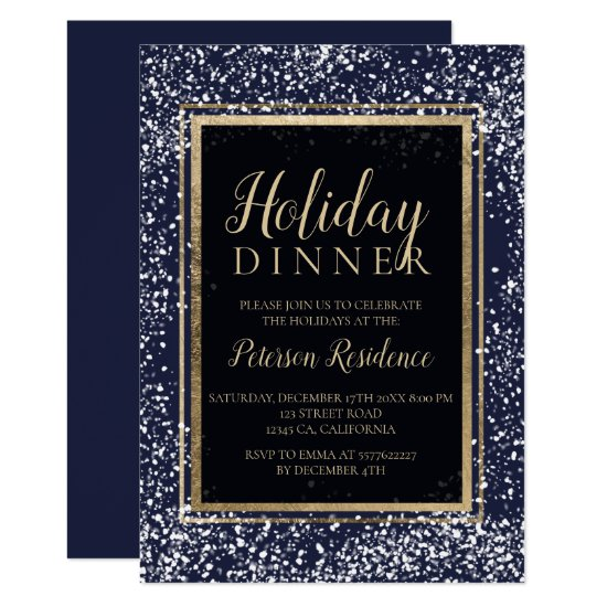 Chic gold typography snow holiday party navy invitation