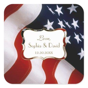 USA Themed Chic Gold USA flag Wedding Custom Monogram Square Sticker