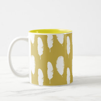 Chic Gold White Feathers Two-Tone Coffee Mug