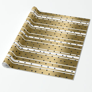 Chic Gold & White Stripes With Black Polka Dots Wrapping Paper