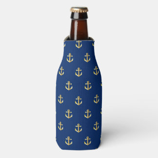Chic Gold Yellow Colored Nautical Anchors Pattern Bottle Cooler