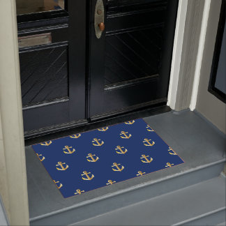 Chic Gold Yellow Colored Nautical Anchors Pattern Doormat