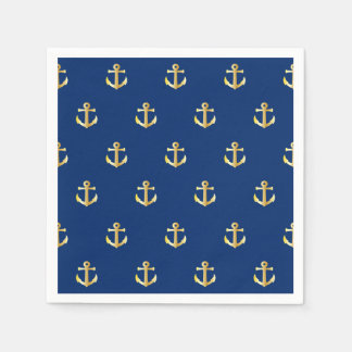Chic Gold Yellow Colored Nautical Anchors Pattern Napkin