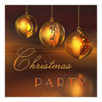 Chic Golden Baubles Christmas Party Invitation
