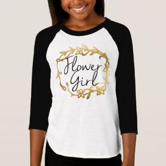 Chic Golden Floral Flower Girl T-Shirt