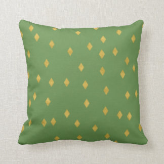 Chic golden like diamond squares on greenery throw pillow