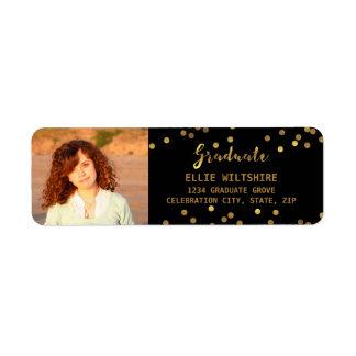 Chic Graduation Photo Faux Gold Foil Confetti Label