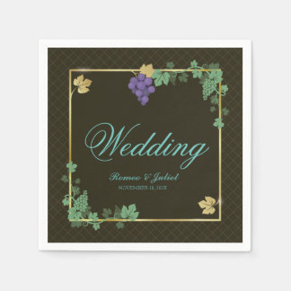 Chic Grape Vines with Gold Frame Wedding Napkin