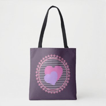 Beach Themed Chic Graphic Hearts bag for beach or shopping