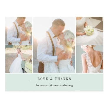 Beach Themed Chic Gratitude | Wedding Photo Collage Thank You Postcard