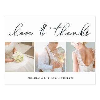 Chic Gratitude | Wedding Photo Collage Thank You Postcard