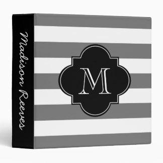 Chic Gray and Black Striped Custom Monogram Binder
