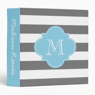 Chic Gray and Blue Striped Custom Monogram Vinyl Binders