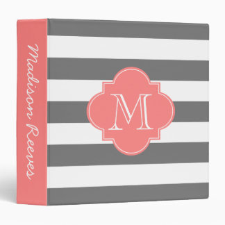 Chic Gray and Coral Striped Custom Monogram Binder