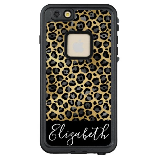 Chic Gray and Gold Leopard Spots Personalized LifeProof FRĒ iPhone 6/6s Plus Case