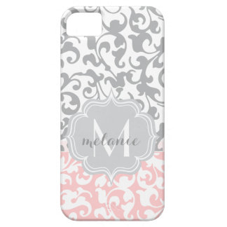 Chic Gray and Pink Damask Swirls Monogram iPhone 5 Case