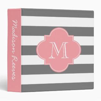 Chic Gray and Pink Striped Custom Monogram Vinyl Binder