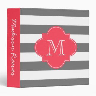 Chic Gray and Red Striped Custom Monogram 3 Ring Binder