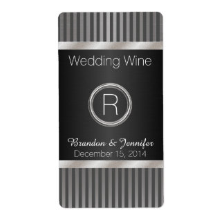 Chic Gray and Silver Wedding Mini Wine Labels