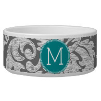 Chic Gray and Teal Damask Pattern Custom Monogram Bowl