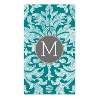 Chic Gray and Teal Damask Pattern Custom Monogram Double-Sided Standard Business Cards (Pack Of 100)