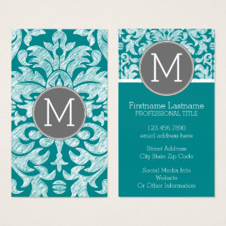 Chic Gray and Teal Damask Pattern Custom Monogram Business Card