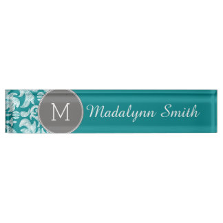 Chic Gray and Teal Damask Pattern Custom Monogram Desk Name Plate
