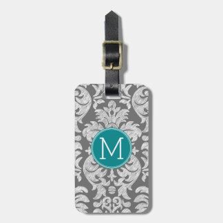 Chic Gray and Teal Damask Pattern Custom Monogram Luggage Tag