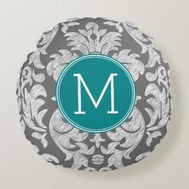 Chic Gray and Teal Damask Pattern Custom Monogram Round Pillow