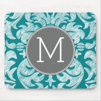 Chic Gray and Teal Damask Pattern Custom Monogram Mouse Pad