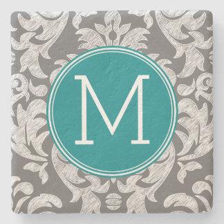 Chic Gray and Teal Damask Pattern Custom Monogram Stone Coaster