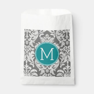 Chic Gray and Teal Damask Pattern Custom Monogram Favor Bags