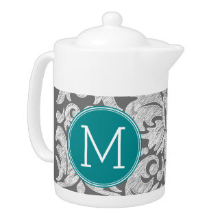 Chic Gray and Teal Damask Pattern Custom Monogram Teapot