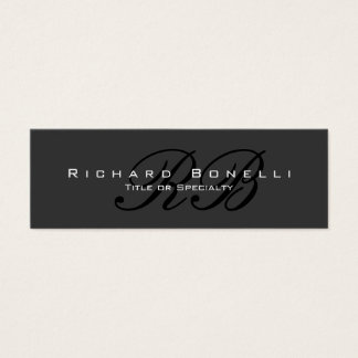 Chic Gray Black Calligraphy Monogram Business Card