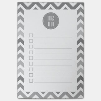Chic Gray Chevron Ombre ZigZag To Do List Post-it Notes