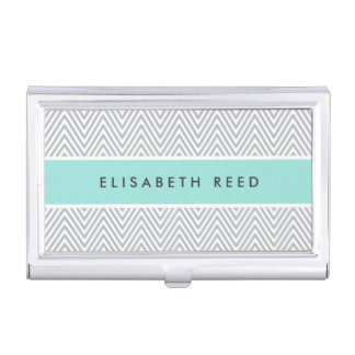 Chic gray chevrons aqua blue personalized case for business cards